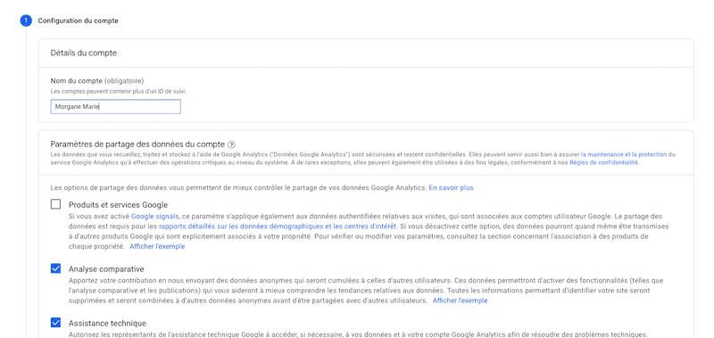 Configuration compte Google Analytics