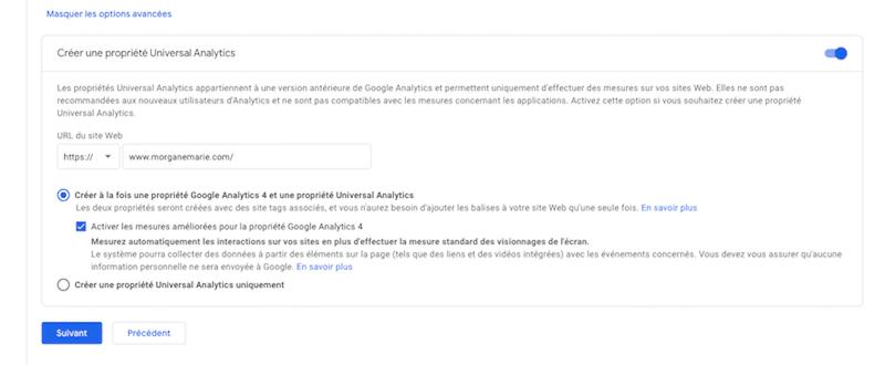Propriété UA Google Analytics