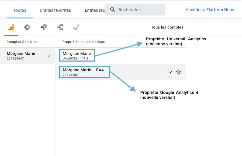 Propriétés Google Analytics